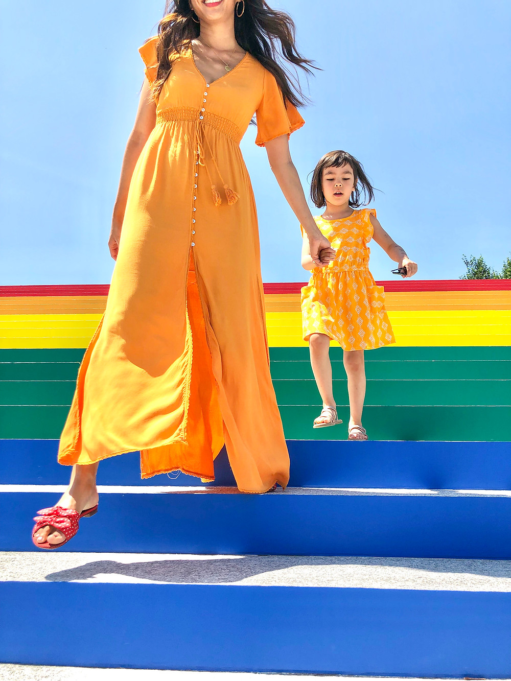 rainbow fashion, mommy and me fashion, world pride, Curious G and Me, rainbow art, rainbow art in NYC, Industry City, Theresa Rivera Design, Roosevelt Island, Four Freedoms Park