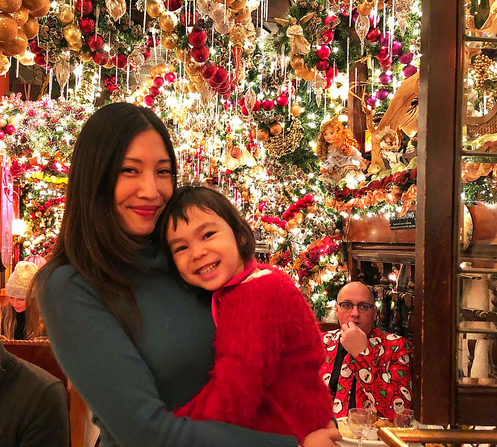 Holiday Bucket List, Fun things to do in NYC for the holidays with your kids, Instagram Bait, Holiday Pop Up, NYC Pop Up, Free in NYC, Curious G and Me, NYC family, NYC with kids, NYC Christmas, NYC icon, Rolf's German Restaurant, Christmas AF, Christmas overload, Christmas explosion, mother daughter portrait