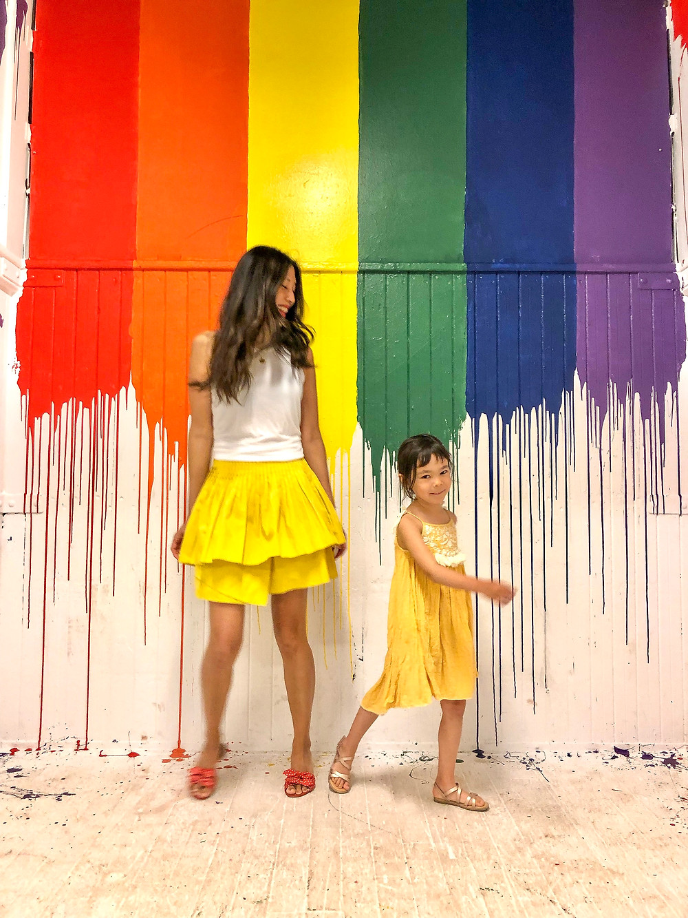 rainbow fashion, mommy and me fashion, world pride, Curious G and Me, rainbow art, rainbow art in NYC, Industry City, Ulla Johnson Alice skirt