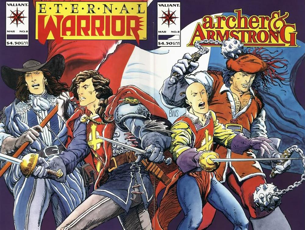 Couverture du n'uméro double Archer&Armstrong Eternal Warrior de Barry Windsor-Smith