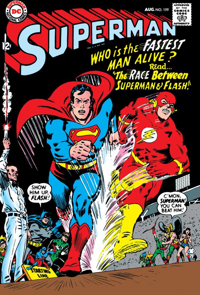Superman 1999, course contre le Flash. Dessin de Carmine Infentino