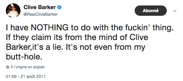Tweet de Barker  21 août 2011