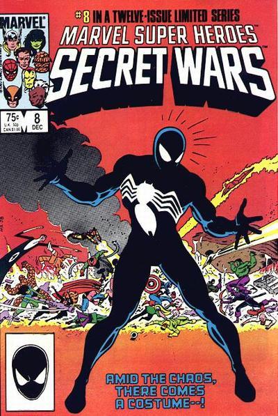 Secret wars Couverture de John Beatty, (spiderman noir) décembre 1984