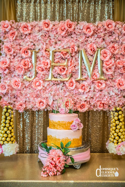 Pink and Gold themed birthday cake