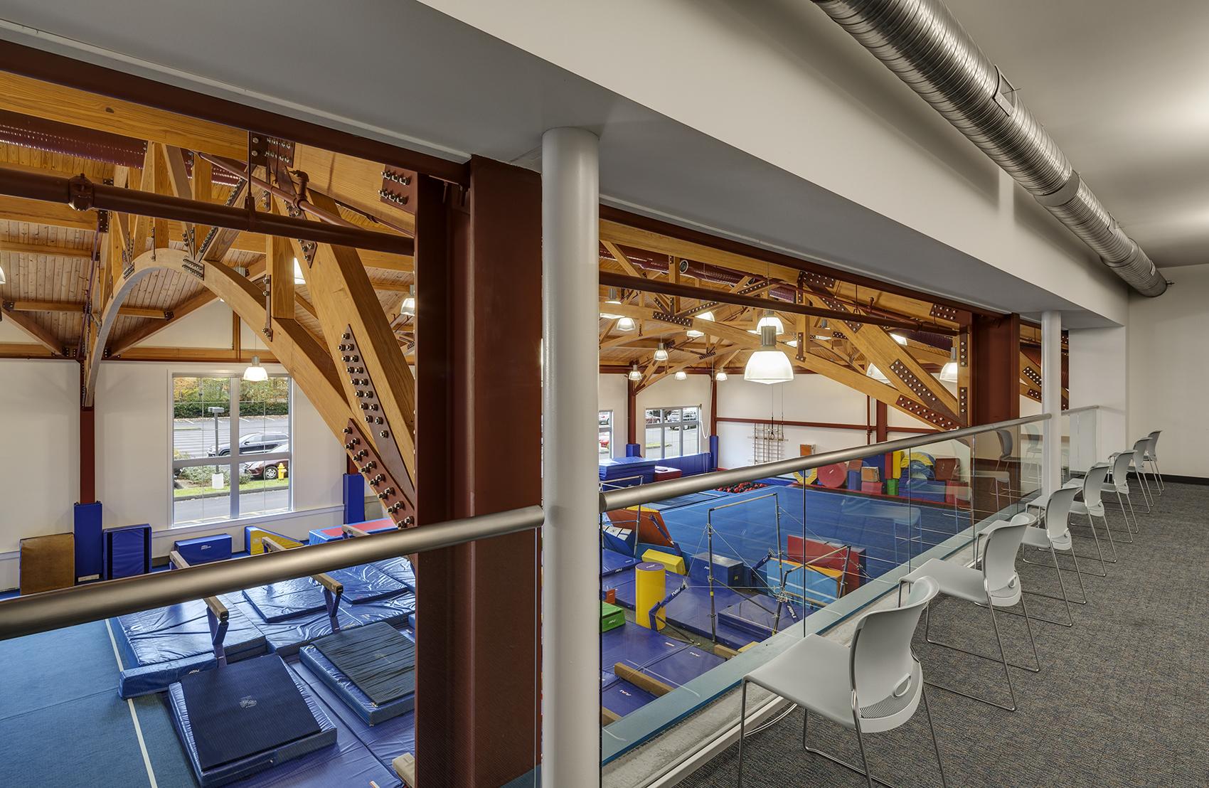 Darien YMCA gym overhead view