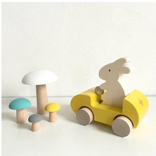 ארנבת במכונית מעץ