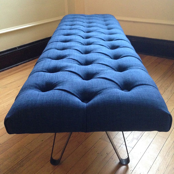 Upholstery Courses graduate Paul Behen made this lovely denim deep-buttoned stool