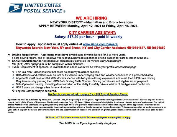 CCA Bronx  Hiring Flyer 4.12. 2021 lands