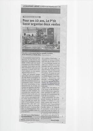 P'tit Bazar - Le Dauphiné Libéré 4 octobre 21.jpg