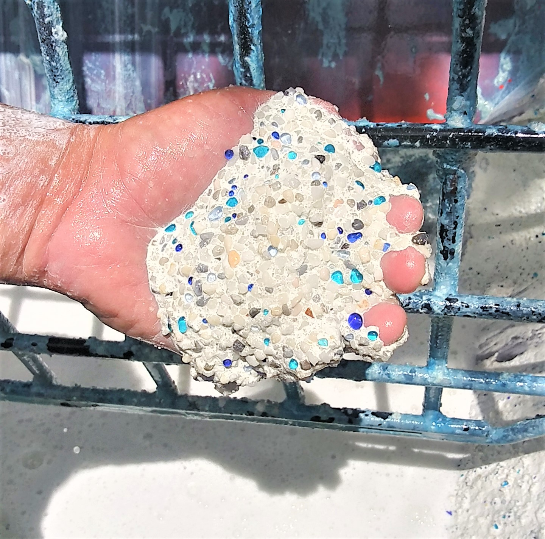 Glass Blue Blend Pebble Interior