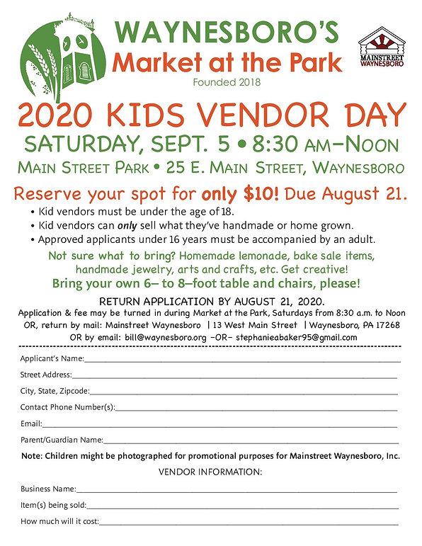 2020 FM Kids vendor day Application 2020