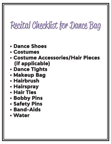 Recital Dance Bag Checklist