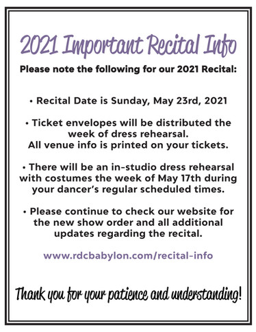 Important Recital Information