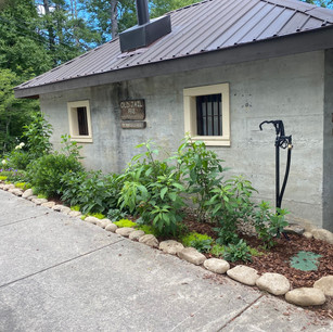 Front of old Jail House after rocks added