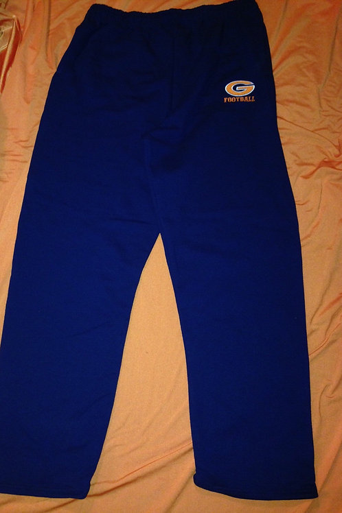 Greeley Football sweatpants with pockets and open bottom