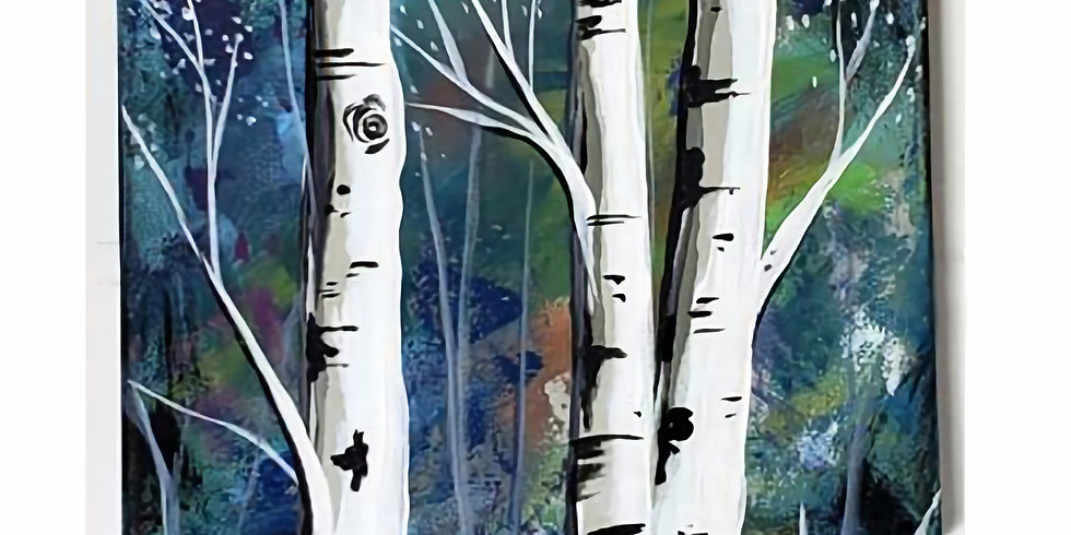 "SHOREVIEW YMCA - ""Triple Birch"" - 1-3pm 3 canvas design Only $30"
