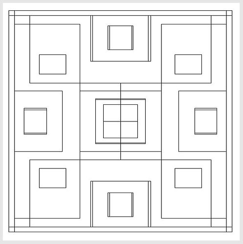 """""""Geometric Boxes""""  3 ft. x 3 ft. Tape & Trace Barn Quilt Pattern"""