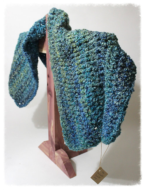 Blue & Green Hues Crocheted Shoulder Wrap