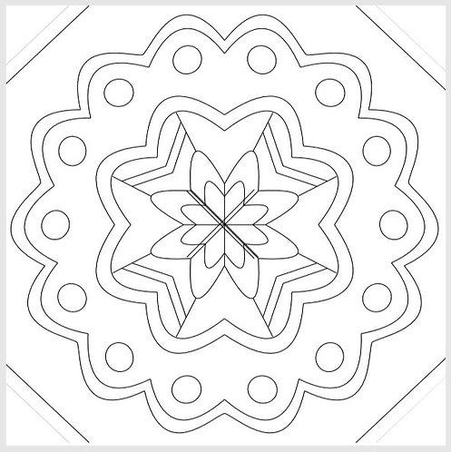 """Sara's Mandala"" 2 ft. x 2 ft. Tape & Trace Barn Quilt Pattern"