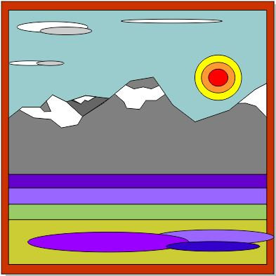 """Sun on the Rockies"" 3 ft. x 3 ft. Tape & Trace Barn Quilt Pattern"