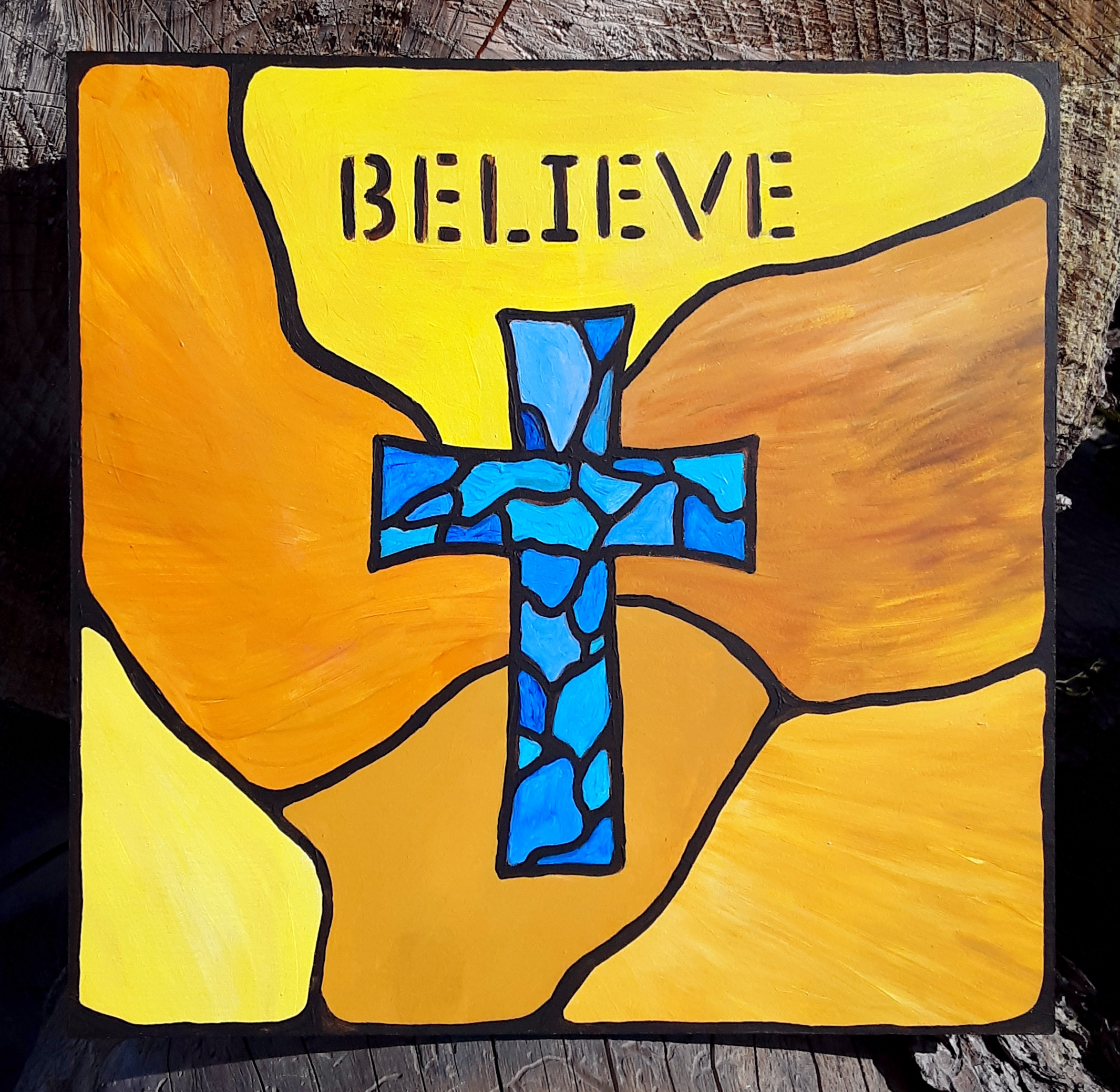 yellow Believe faux stained glass pic