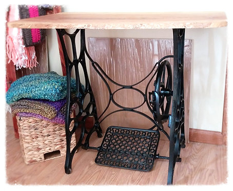 Antique Treadle Sewing Machine Stand (it works!) w/ Ash Live Edges Table Top