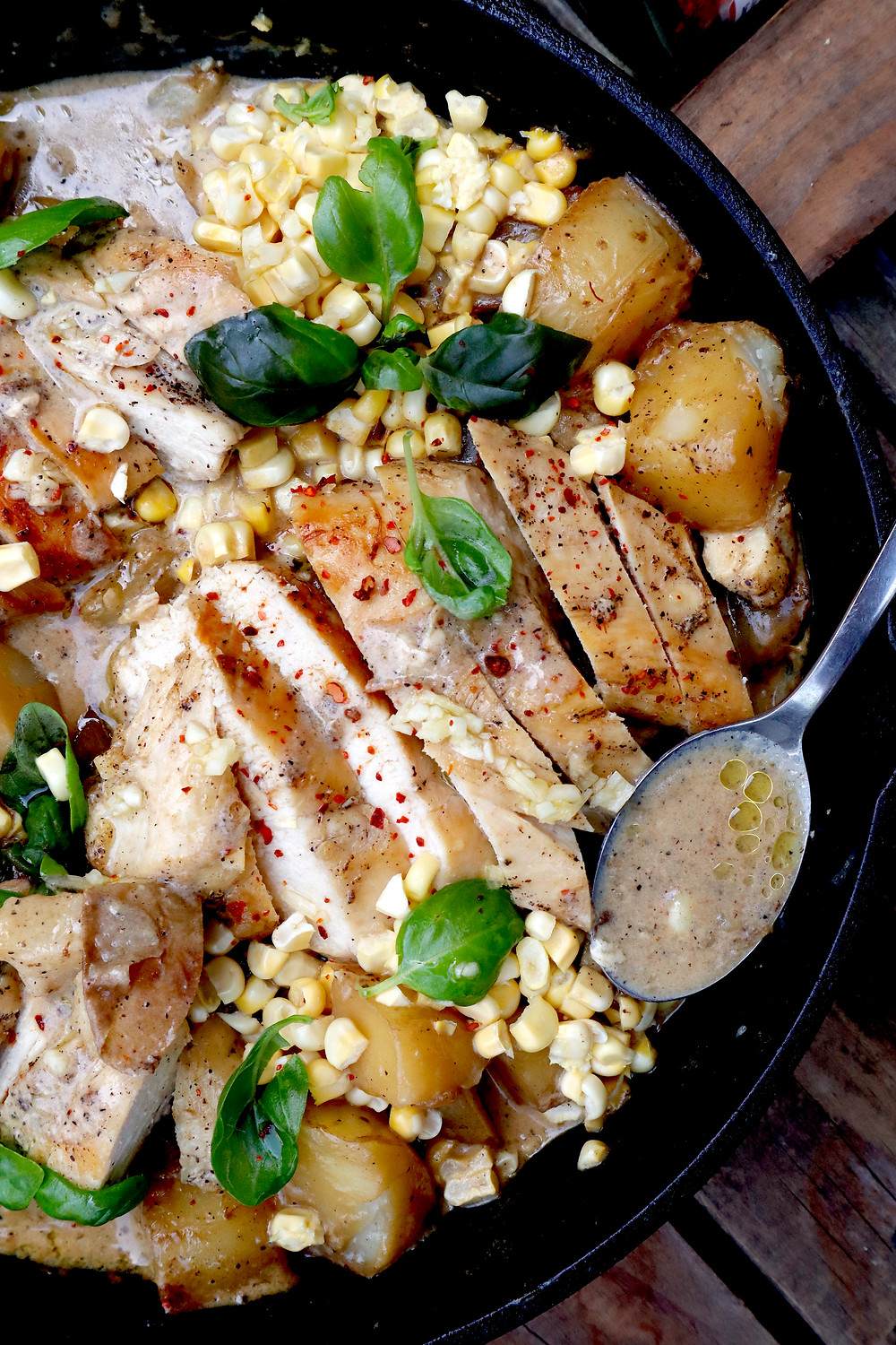 one skillet seared chicken with creamy corn & potatoes