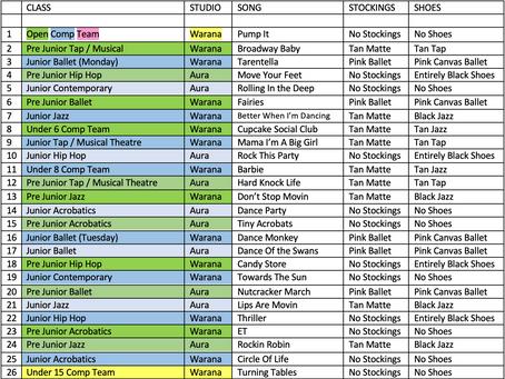 Concert Information for children Pre Junior - Senior