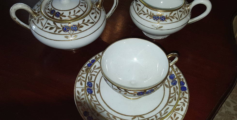 Japanese hand painted teacup, jug and sugar bowl