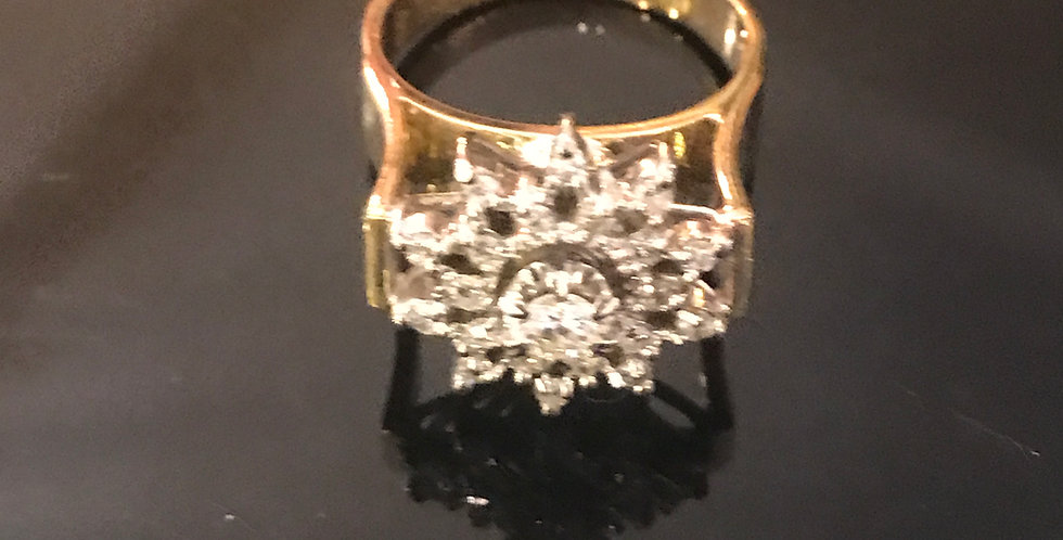 Vintage 18ct  star burst ring