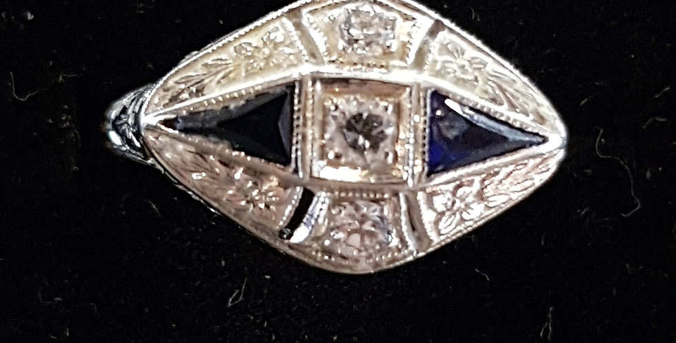 Art Deco Diamonds and Sapphires Ring