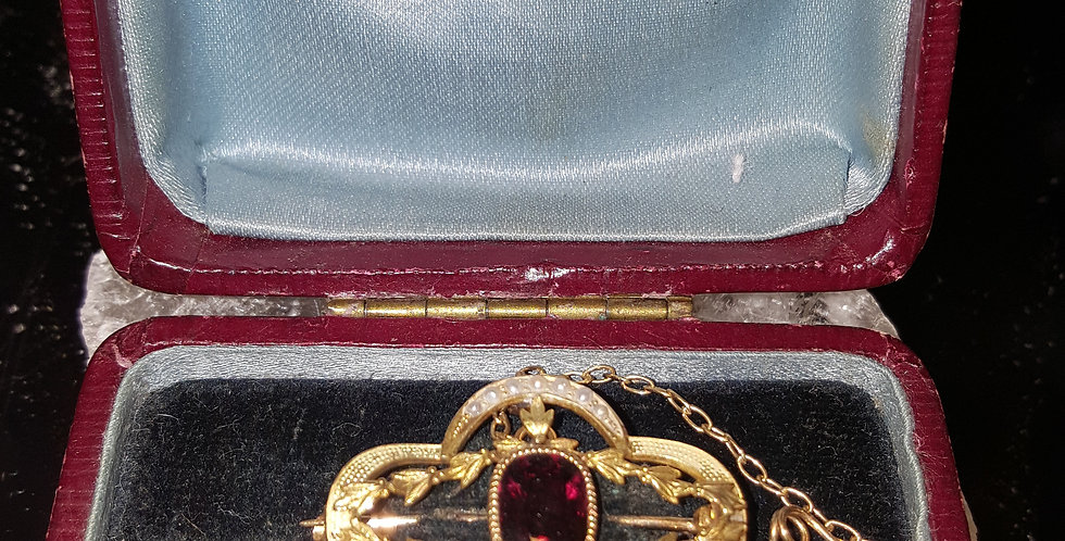 Victorian Ruby and Seed Pearl Brooch