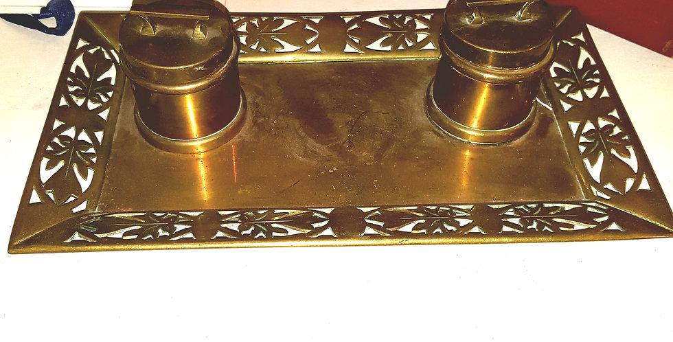 Brass Trench Art Inkwells