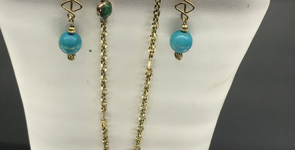 Vintage 18ct gold and turquoise necklace and earrings