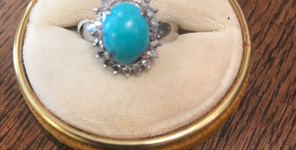 Vintage 18ct turquoise and diamond ring