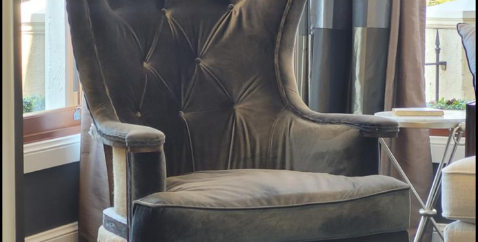 Velvet deconstructed French arm chair
