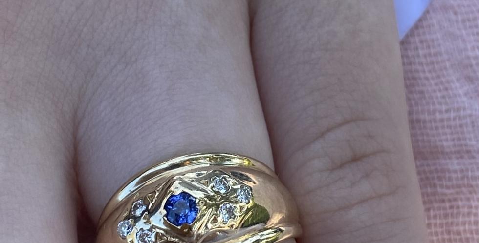 18 ct Ceylon sapphire and diamond ring