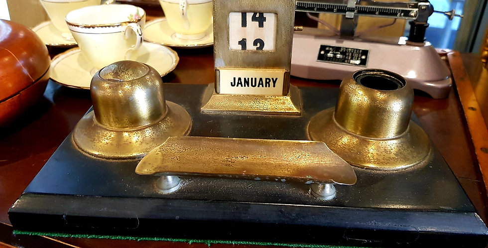 Victorian Date Keeper and Inkwells
