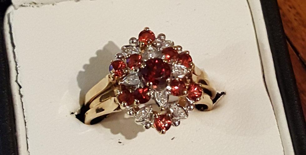 Garnet & Diamond 3 Ring Set