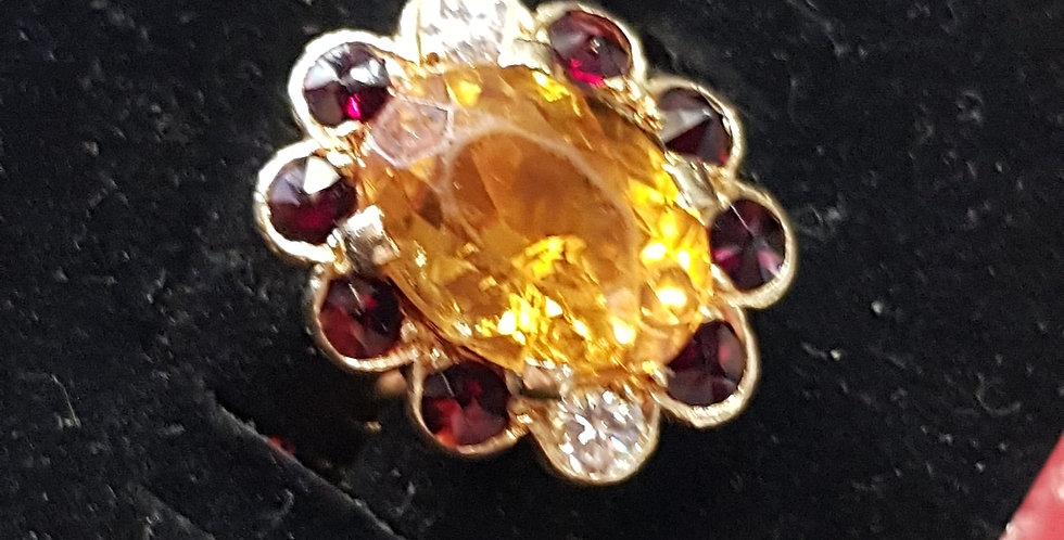 Orange Sapphire, Garnet and Diamond Ring
