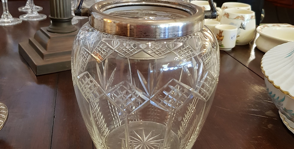Edwardian Crystal Ice Bucket with Tongs