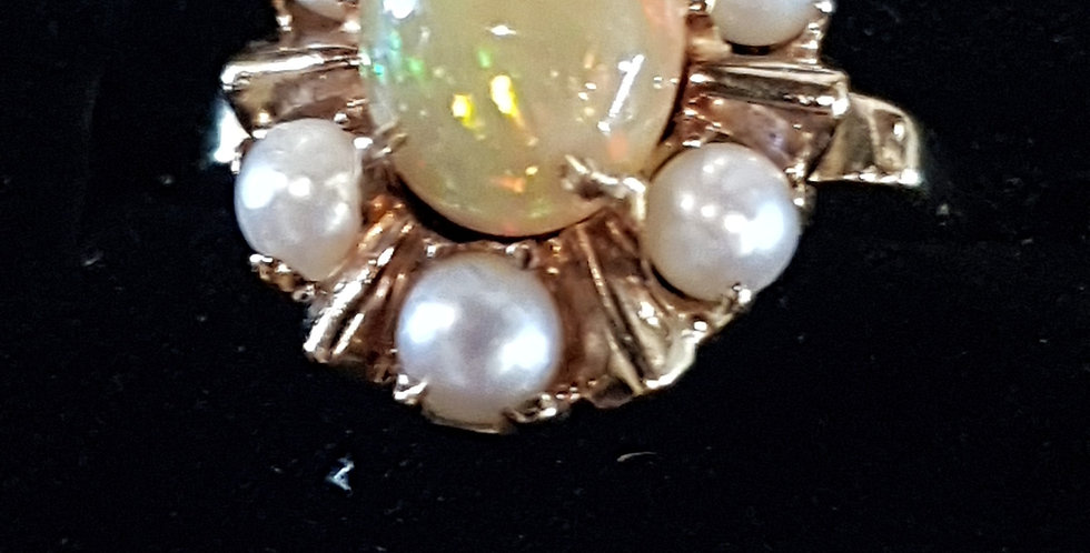 Antique Opal and Pearls Ring