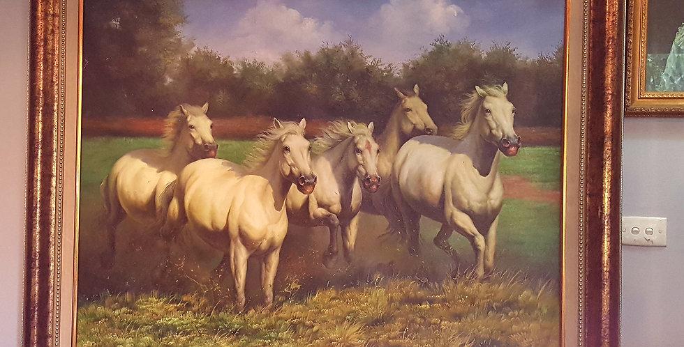 White horses painting