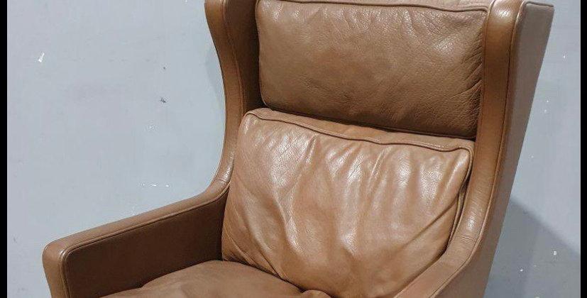 Mid century Stouby lederen wing chair