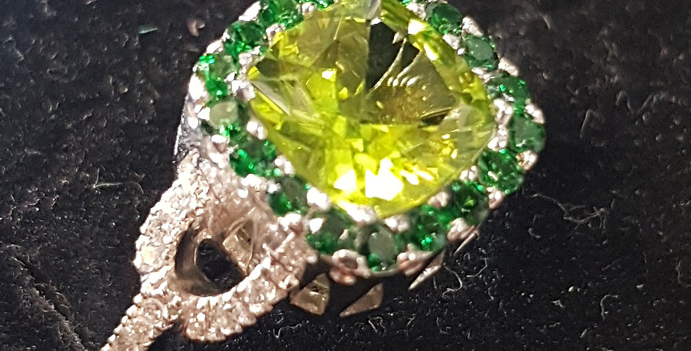 Peridot, Emeralds and Diamonds Ring