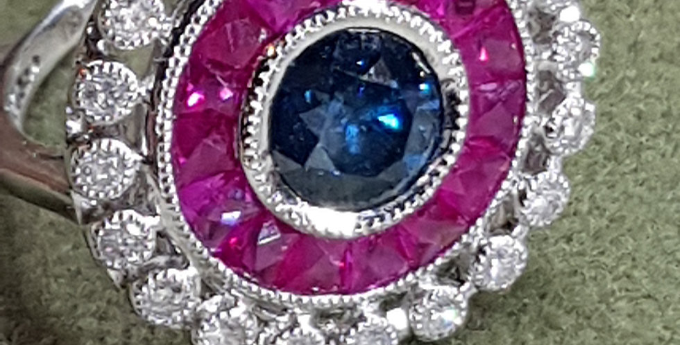 Blue Diamond, Natural Rubies and White Diamonds Ring
