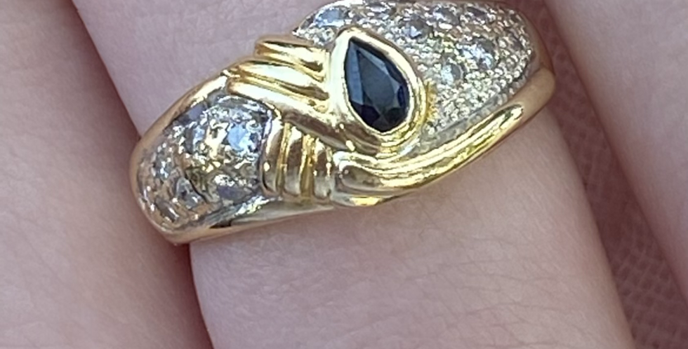 18 ct gold  sapphire and diamond ring