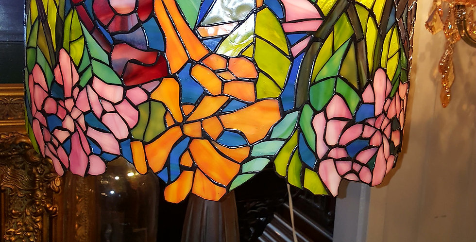 Leadlight shade with Bronze base