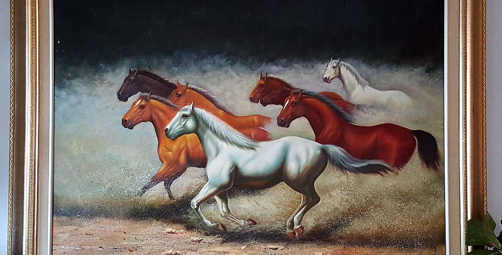 Large painting of running horses