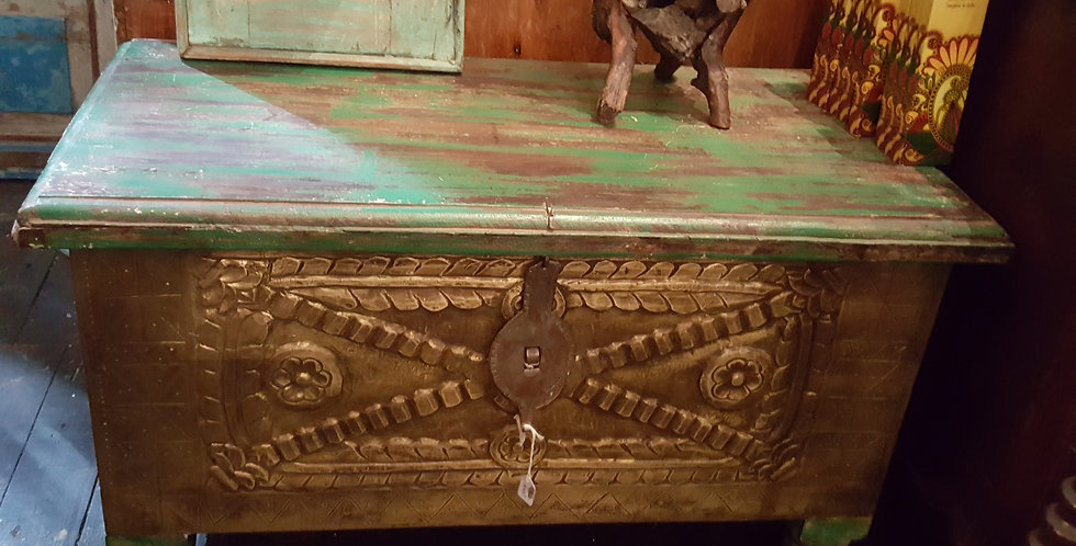 Green timber chest